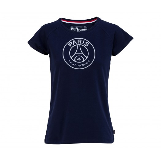 T-shirt Paris Saint-Germain Logo Glam Bleu Femme