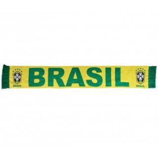 Echarpe aux couleurs du Brésil avec écusson de l'équipe nationale tissé