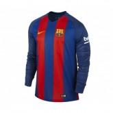 Maillot Manches Longues Nike FC Barcelone Domicile 2016/17 Bleu et Rouge