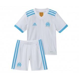 Mini Kit adidas Olympique de Marseille Domicile 2017/18 Blanc et Bleu Enfant