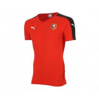 T-Shirt Col V Rennes Rouge/Noir