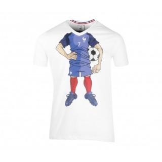 T-shirt France FFF Cartoon Blanc Enfant